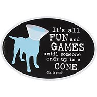 "Dog is Good ""It's All Fun and Games"" Oval Car Magnet"