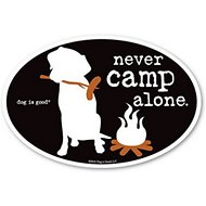 "Dog is Good ""Never Camp Alone"" Oval Car Magnet"
