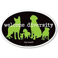 "Dog is Good ""Welcome Diversity"" Oval Car Magnet"