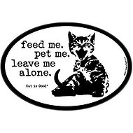 "Dog is Good ""Feed Me, Pet Me"" Oval Car Magnet, Cat"