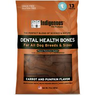 Indigenous Pet Products Carrot & Pumpkin Dental Dog Bones, 13 count