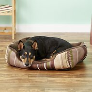 ASPCA Microtech Striped Cuddler Dog Bed, Brown