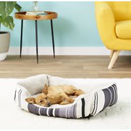 ASPCA Microtech Striped Cuddler Dog Bed, Gray
