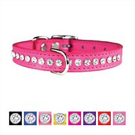 OmniPet Signature Leather Crystal Dog Collar, 16-inch, Pink
