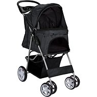 Paws & Pals Folding Dog & Cat Stroller, Black