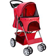Paws & Pals Folding Dog & Cat Stroller, Red