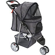 OxGord Jogger Folding Dog & Cat Stroller, Plaid Blue