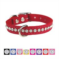 OmniPet Signature Leather Crystal Dog Collar, 14-inch, Red