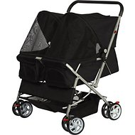Paws & Pals Twin Double Folding Dog & Cat Stroller, Black