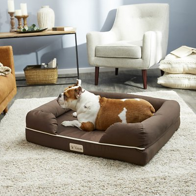 PetFusion Ultimate Lounge Memory Foam Bolster Cat & Dog Bed w/Removable Cover