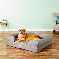 PetFusion Ultimate Lounge with Solid Memory Foam Dog & Cat Bed, Gray, Jumbo
