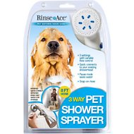 Rince Ace 3-Way Shower Sprayer Dog Grooming Tool, 8-ft hose, White