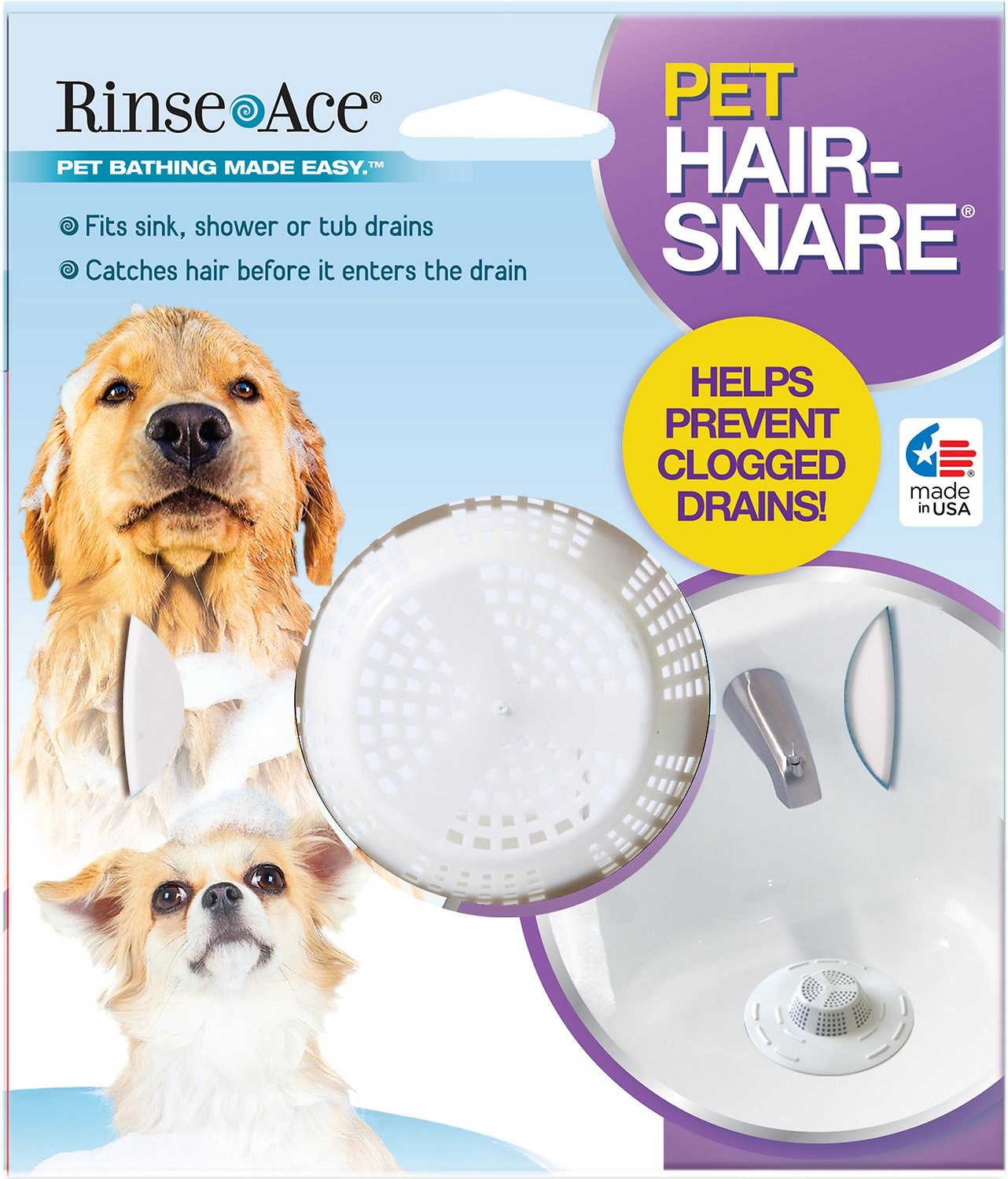 Rinse Ace Pet Hair Snare Drain Catcher White Chewy Com