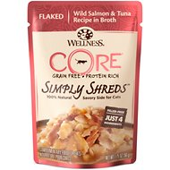 Wellness CORE Simply Shreds Grain-Free Wild Salmon & Tuna Wet Cat Food Topper, 1.75-oz, case of 12