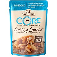 Wellness CORE Simply Shreds Grain-Free Boneless Chicken & Mackerel Wet Cat Food Topper, 1.75-oz, case of 12