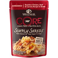 Wellness CORE Simply Shreds Grain-Free Chicken, Beef & Carrots Wet Dog Food Topper, 2.8-oz, case of 12