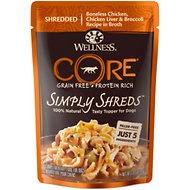 Wellness CORE Simply Shreds Grain-Free Chicken, Chicken Liver & Broccoli Wet Dog Food Topper, 2.8-oz, case of 12