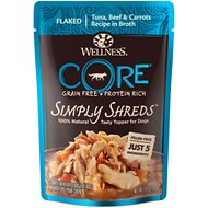 Wellness CORE Simply Shreds Grain-Free Tuna, Beef & Carrots Wet Dog Food Topper, 2.8-oz, case of 12