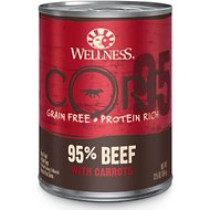 Wellness CORE 95% Grain-Free Beef & Carrots Canned Dog Food, 12.5-oz, case of 12