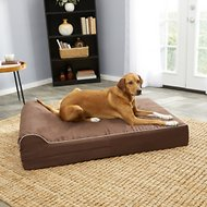 KOPEKS Orthopedic Memory Foam With Pillow Dog Bed, Dark Chocolate Brown, X-Large