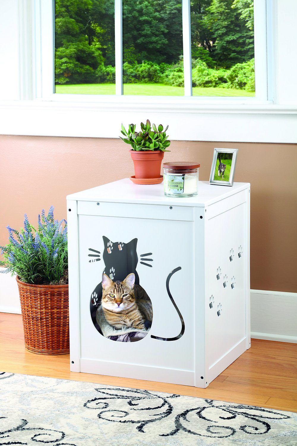 Etna Decorative Cat Litter Box Cover White Chewy Com