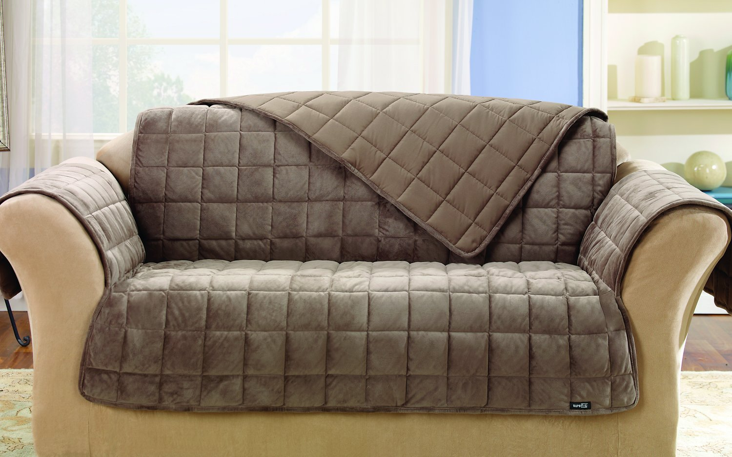 Sure Fit Deluxe Loveseat Cover Sable