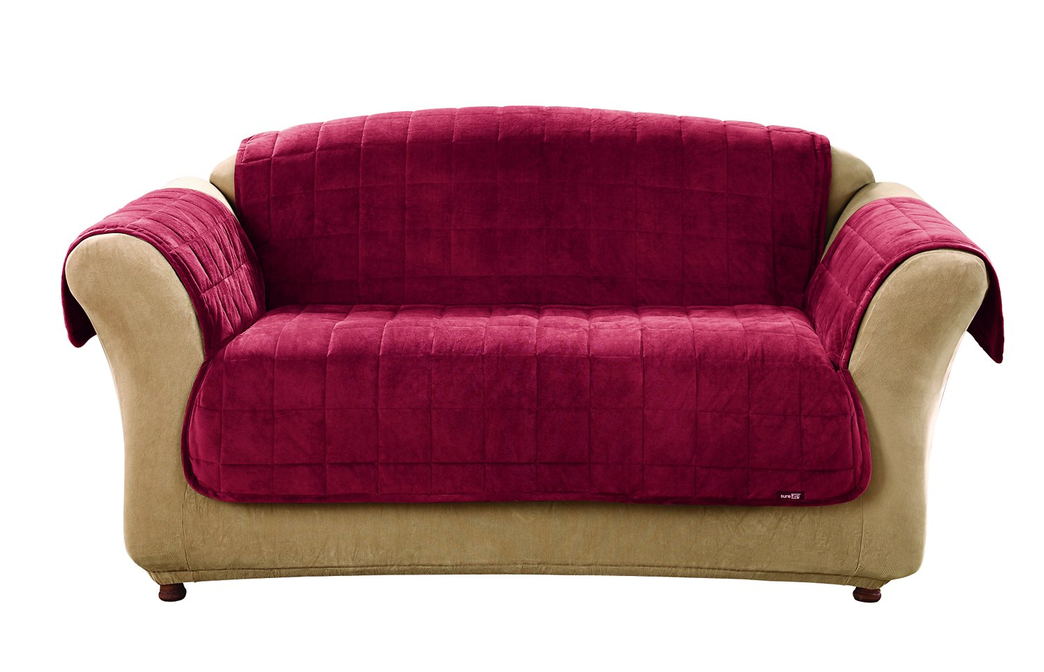 Prime Sure Fit Deluxe Loveseat Cover Burgundy Dailytribune Chair Design For Home Dailytribuneorg