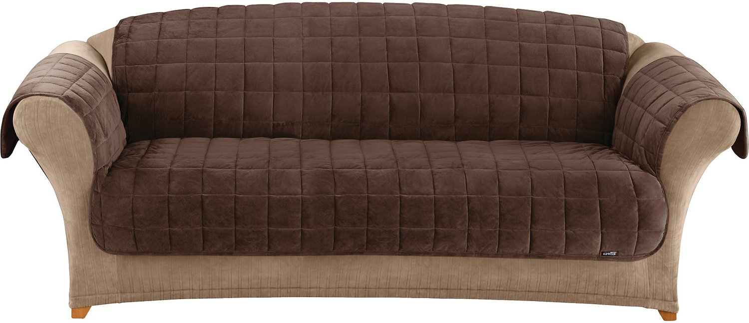 Sure Fit Deluxe Sofa Cover, Chocolate - Chewy.com