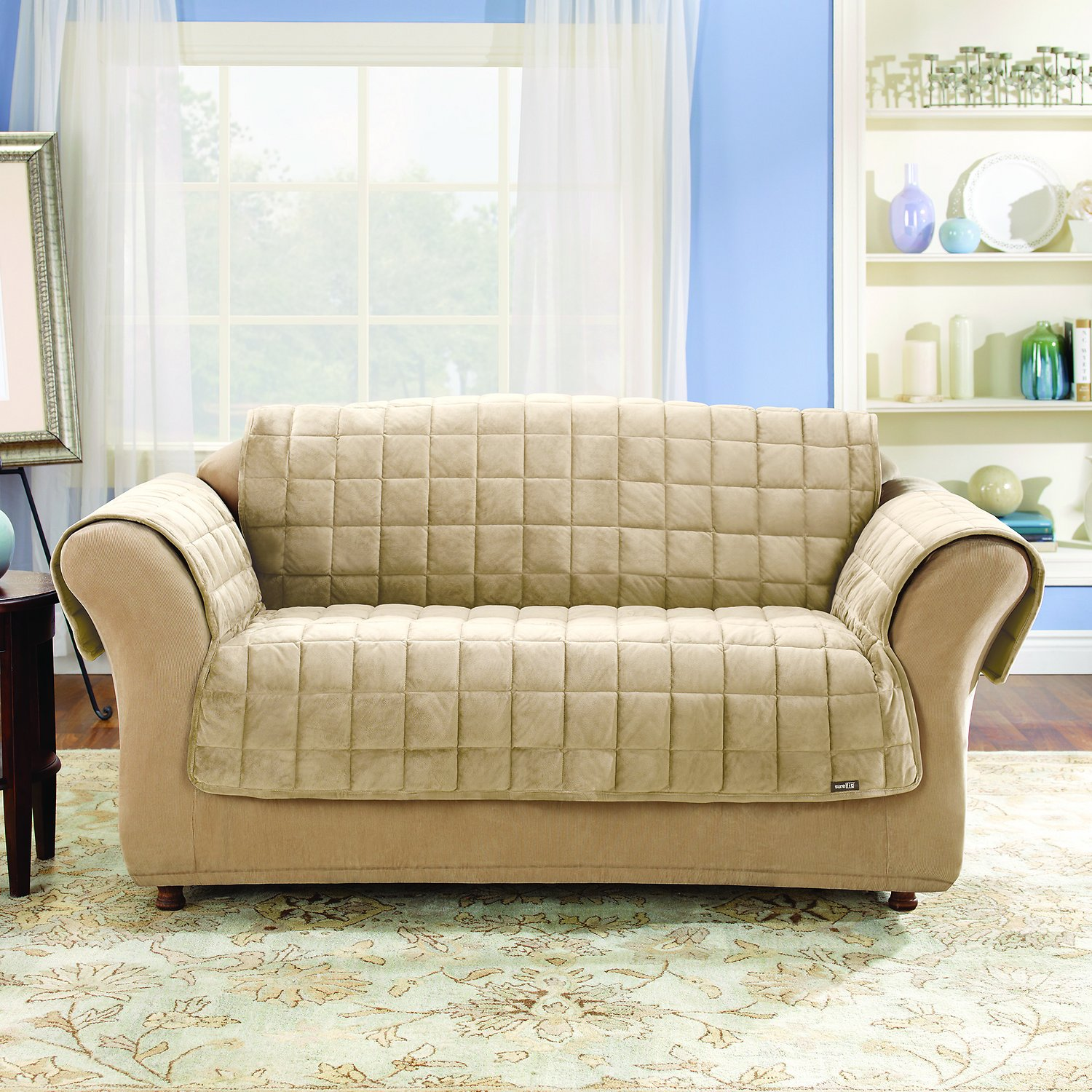 Sure Fit Deluxe Sofa Cover Ivory Chewy Com