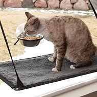 K&H Pet Products EZ Mount Up & Away Kitty Single Diner Cat Bowl, 12-oz, Stainless/Black
