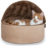 K&H Pet Products Self-Warming Hooded Cat Bed, Chocolate/Tan, Small