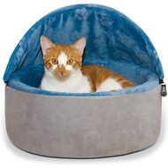 K&H Pet Products Self-Warming Hooded Cat Bed, Blue/Gray, Small