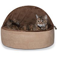 K&H Pet Products Self-Warming Hooded Cat Bed, Chocolate/Tan, Large