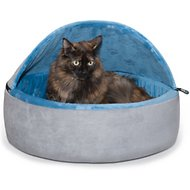 K&H Pet Products Self-Warming Hooded Cat Bed, Blue/Gray, Large