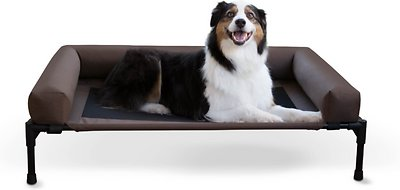 K&H Pet Products Original Bolster Elevated Dog Bed, Chocolate