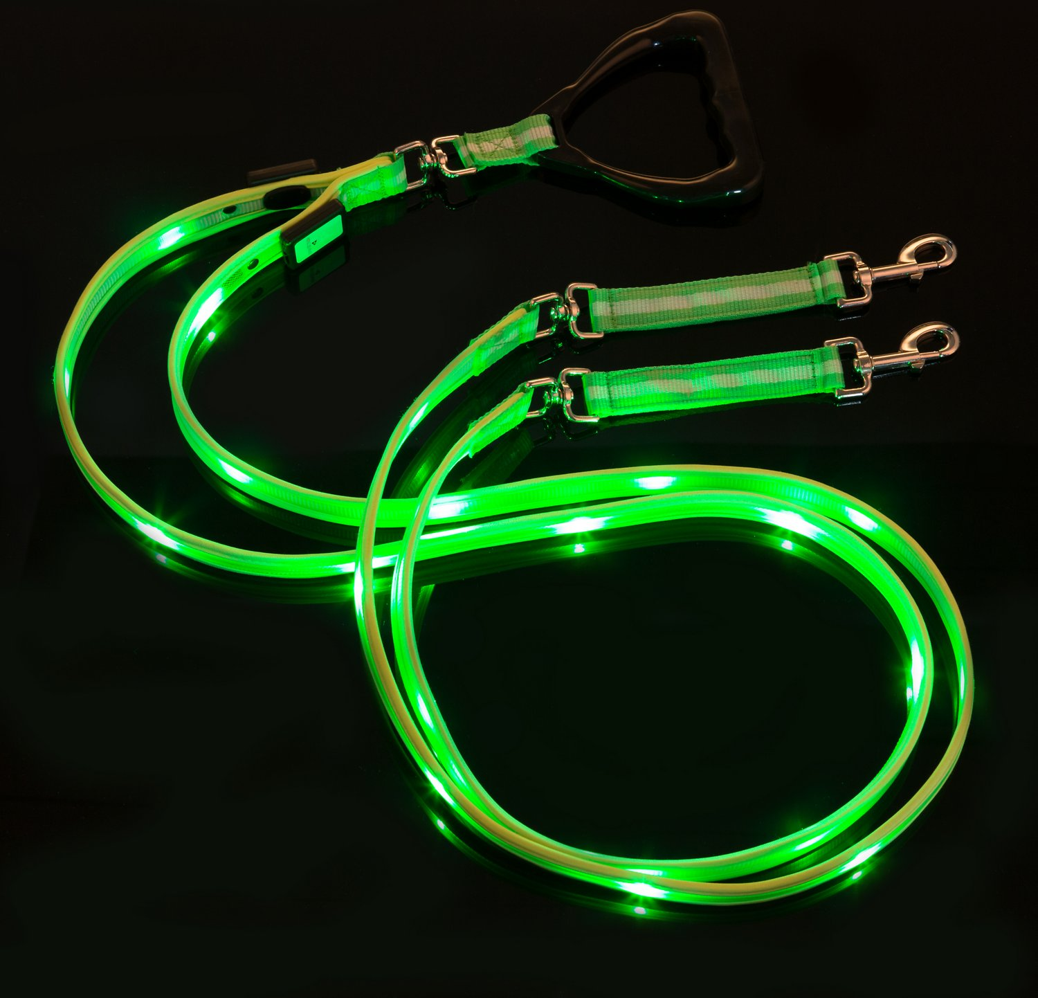 Nite Beams Led Rechargeable Dual Dog Leash Green Large