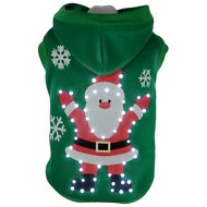 Pet Life LED Lighting Hands-Up Santa Hooded Dog Sweater, Large
