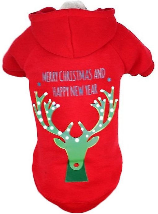 video  sc 1 st  Chewy.com & Pet Life LED Lighting Christmas Reindeer Hooded Dog Sweater X ... azcodes.com