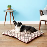 American Kennel Club Tufted Pillow Plaid Dog Bed, Beige