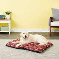 American Kennel Club Tufted Pillow Plaid Dog Bed, Burgundy