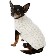 Chilly Dog Natural Cable Dog & Cat Sweater, XX-Small
