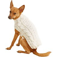 Chilly Dog Natural Cable Dog & Cat Sweater, X-Small