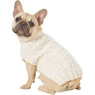 Chilly Dog Natural Cable Dog Sweater, Small
