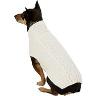 Chilly Dog Natural Cable Dog & Cat Sweater, Medium