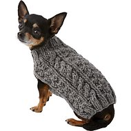 Chilly Dog Grey Cable Knit Dog & Cat Sweater, XX-Small