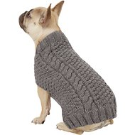 Chilly Dog Grey Cable Knit Dog & Cat Sweater, Small