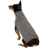 Chilly Dog Grey Cable Knit Dog & Cat Sweater, Medium