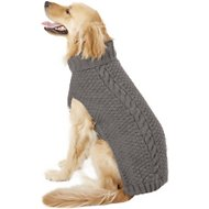 Chilly Dog Grey Cable Knit Dog & Cat Sweater, XX-Large