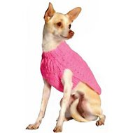 Chilly Dog Pink Cable Dog Sweater, XX-Small