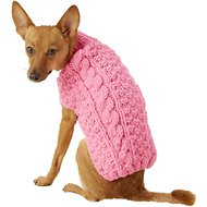 Chilly Dog Pink Cable Dog & Cat Sweater, X-Small